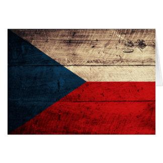 Bandeira checa de madeira velha cartão de nota