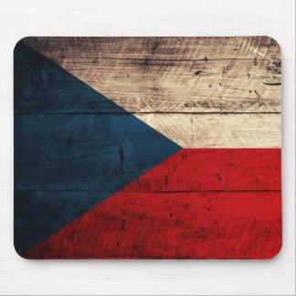 Bandeira checa de madeira velha mouse pads