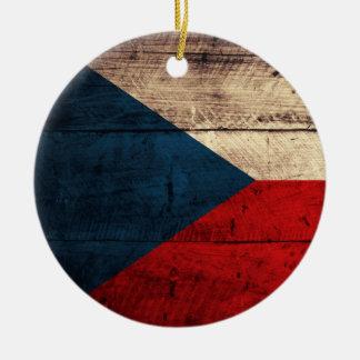 Bandeira checa de madeira velha ornamentos