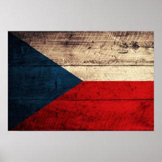 Bandeira checa de madeira velha poster