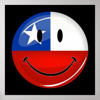 Bandeira chilena de sorriso do círculo lustroso poster