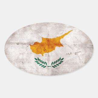 Bandeira cipriota adesivos oval