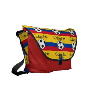 Bandeira colombiana com futebol bolsa mensageiro