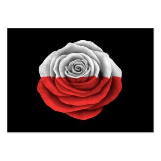 Bandeira cor-de-rosa do polonês no preto cartoes de visitas