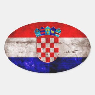 Bandeira croata adesivo oval