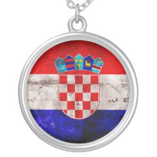 Bandeira croata colar com pendente redondo