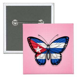 Bandeira cubana da borboleta no rosa pins
