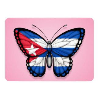 Bandeira cubana da borboleta no rosa convite personalizado