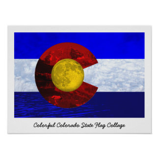 Bandeira da arte da colagem de Colorado Pôster