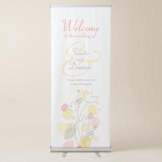 Bandeira da boa vinda dos confetes do casamento banner retrátil