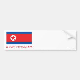 Bandeira da Coreia do Norte com nome no coreano Adesivo Para Carro