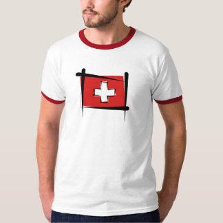 Bandeira da escova da suiça camiseta