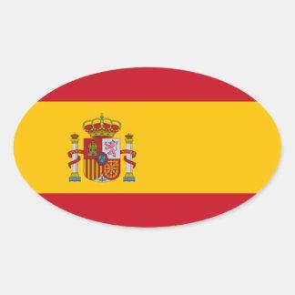 Bandeira da espanha adesivo oval