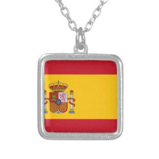 Bandeira da espanha colar banhado a prata