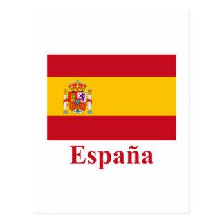 Bandeira da espanha com nome no espanhol cartão postal