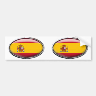 Bandeira da espanha no Oval de vidro Adesivos