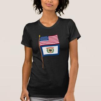 Bandeira da estrela dos E.U. 35 no pólo com West V Camiseta