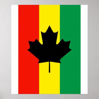 Bandeira da folha de bordo da reggae de Rasta Poster