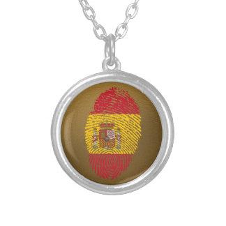 Bandeira da impressão digital do toque do espanhol colar banhado a prata
