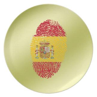 Bandeira da impressão digital do toque do espanhol prato