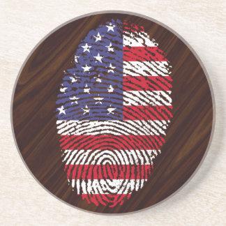 Bandeira da impressão digital do toque dos EUA Porta Copos De Arenito