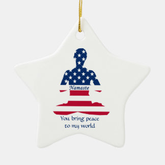 Bandeira da ioga do americano da meditação dos EUA Ornamento De Cerâmica