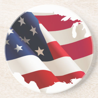 Bandeira da onda dos Estados Unidos Porta Copos De Arenito
