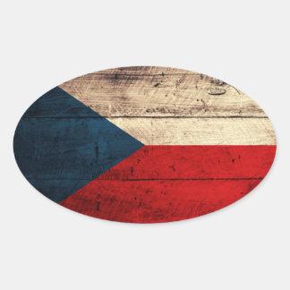 Bandeira da república checa adesivo oval