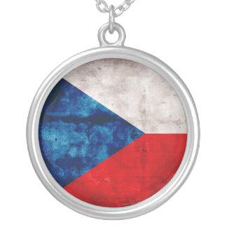 Bandeira da república checa colar com pendente redondo