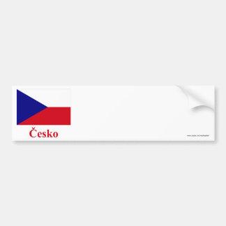 Bandeira da república checa com nome em Checo Adesivos