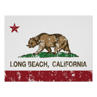 Bandeira da república de Long Beach Califórnia Pôster