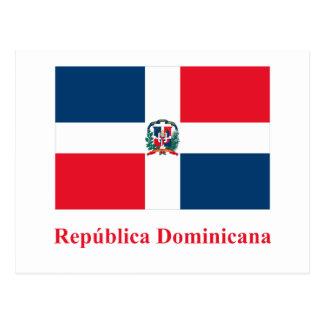Bandeira da República Dominicana com nome no espan Cartão Postal