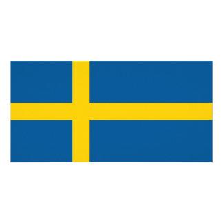 Bandeira da suecia cartão com foto