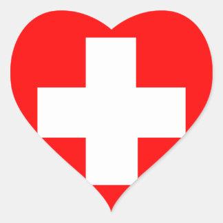 Bandeira da suiça adesivos em forma de corações