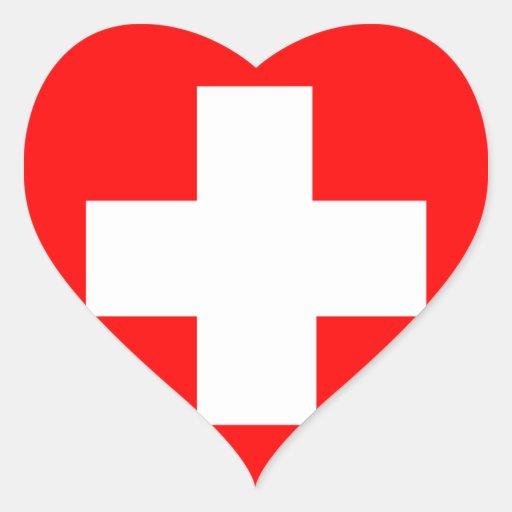Bandeira da suiça adesivos de corações