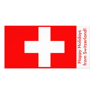 Bandeira da suiça boas festas cartoes com fotos personalizados