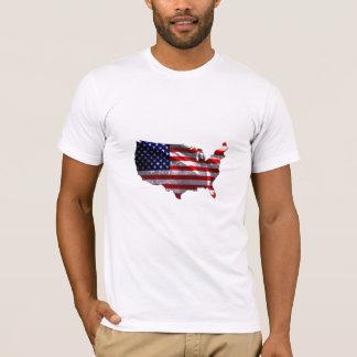Bandeira dada forma EUA continental Camiseta