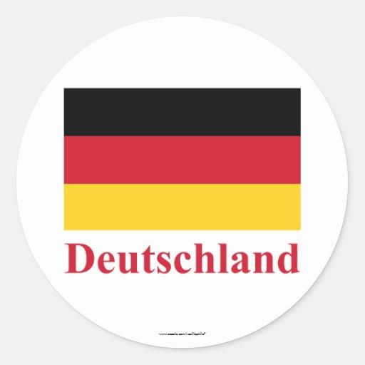 Bandeira de Alemanha com nome no alemão Adesivos Em Formato Redondos