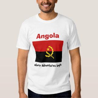 Bandeira de Angola + Mapa + T-shirt do texto