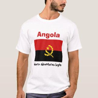Bandeira de Angola + Mapa + T-shirt do texto Camiseta