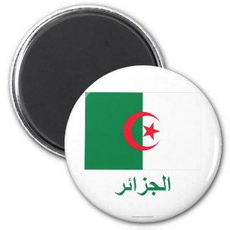 Bandeira de Argélia com nome no árabe Ímã Redondo 5.08cm