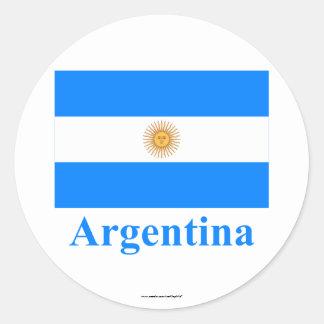 Bandeira de Argentina com nome Adesivos Redondos