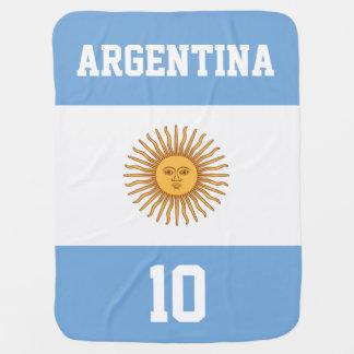 Bandeira de Argentina com seus nome e número do Cobertores Para Bebe