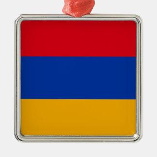 Bandeira de Arménia - Yeraguyn Ornamento Quadrado Cor Prata