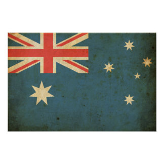 Bandeira de Austrália do vintage Pôster