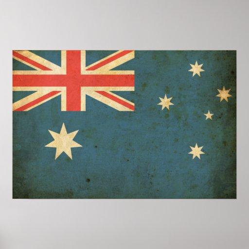 Bandeira de Austrália do vintage Impressão