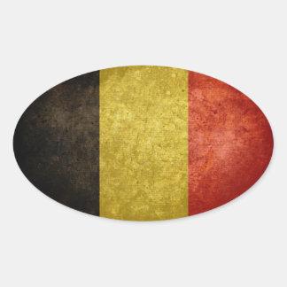 Bandeira de Bélgica Adesivo Oval