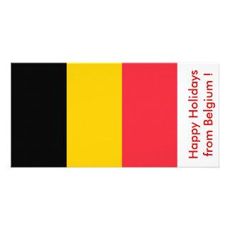 Bandeira de Bélgica boas festas de Bélgica Cartões Com Fotos Personalizados
