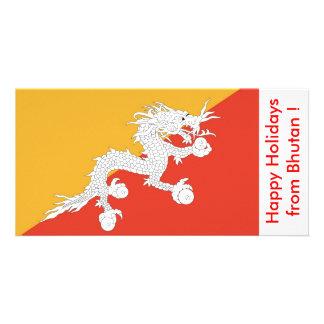 Bandeira de Bhutan boas festas de Bhutan Cartões Com Foto Personalizados