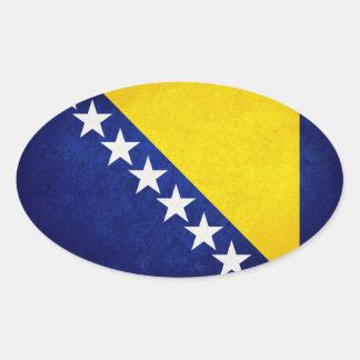 Bandeira de Bósnia Adesivo Oval